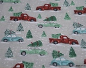 Christmas Flannel Fabric - Multi Vehicle Christmas - By the Yard - 100% Cotton Flannel