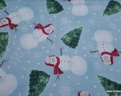 Christmas Flannel Fabric - Happy Snowman and Trees - By the yard - 100% Cotton Flannel