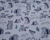 Flannel Fabric - Wild Animals - By the yard - 100% Cotton Flannel