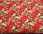 Christmas Premium Flannel Fabric - Snow Bird Chickadees and Berries on Red Premium - By the yard - 100% Premium Cotton Flannel