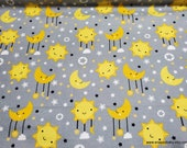 Flannel Fabric - Sun and Moon Gray - By the yard - 100% Cotton Flannel
