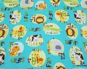 Flannel Fabric - Safari Alphabet - By the yard - 100% Cotton Flannel