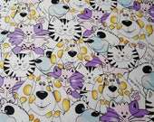 Flannel Fabric - Cats and Dogs with Purple - By the yard - 100% Cotton Flannel