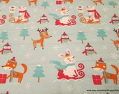 Christmas Flannel Fabric - Forest Animal Snow Happy Holidays- By the yard - 100% Cotton Flannel