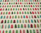 Christmas Flannel Fabric - Colorful Mini Trees -By the Yard - 100% Cotton Flannel