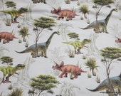 Flannel Fabric - Realistic Dinos on White - By the yard - 100% Cotton Flannel