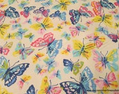 Flannel Fabric - Watercolor Butterflies - By the yard - 100% Cotton Flannel