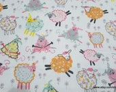 Flannel Fabric - Knitting Sheep - By the yard - 100% Cotton Flannel