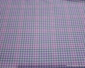 Quilters Flannel Fabric - Stork Gingham Light Pink - By the yard - 100% Cotton Quilters Flannel