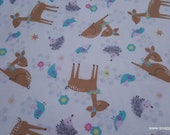 Flannel Fabric - Deer White Tossed - By the yard - 100% Cotton Flannel