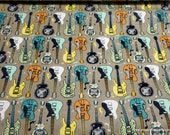 Flannel Fabric - Pattern Trap Guitars - By the yard - 100% Cotton Flannel