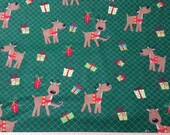 Christmas Flannel Fabric - Reindeer Pals and Presents - By the yard - 100% Cotton Flannel
