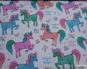 Flannel Fabric - Believe in Magic Unicorn - By the yard - 100% Cotton Flannel