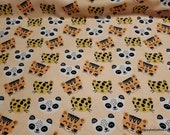 Flannel Fabric - Tiger and Panda - By the yard - 100% Cotton Flannel