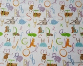 Flannel Fabric - Alphabets and Animals Pastel - By the yard - 100% Cotton Flannel