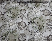 Premium Flannel Fabric - On Time Mist Time Pieces Premium Flannel - By the yard - 100% Premium Cotton Flannel