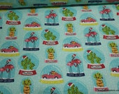 Christmas Flannel Fabric - Snow Globe Vacation - By the yard - 100% Cotton Flannel