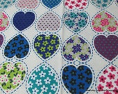 Flannel Fabric - Patterned Hearts - By the yard - 100% Cotton Flannel