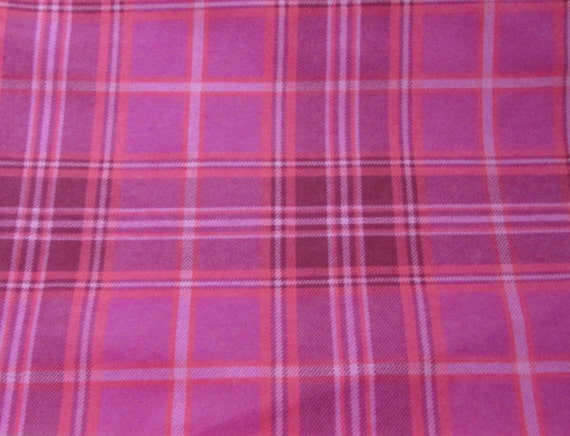 Flannel Fabric - Pink Coral Plaid - By the yard - 100% Cotton Flannel