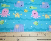 Flannel Fabric - Sea Friends - By the yard - 100% Cotton Flannel