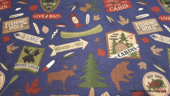 Flannel Fabric - Cabin Main Navy - By the yard - 100% Cotton Flannel