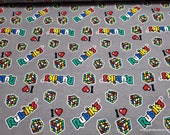 Licensed Flannel Fabric - Rubik's Patches on Gray - By the yard - 100% Cotton Flannel