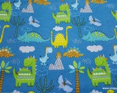 Flannel Fabric - Dinos and Clouds - By the Yard - 100% Cotton Flannel