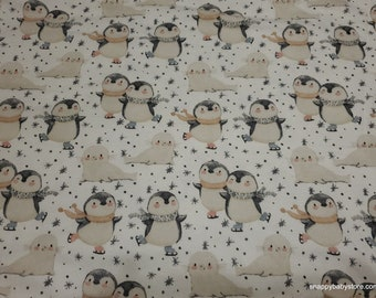 Christmas Flannel Fabric - Skating Penguins and Seals - By the yard - 100% Cotton Flannel
