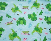 Flannel Fabric - Frisky Frog - By the yard - 100% Cotton Flannel