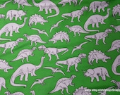 Flannel Fabric - Dino Sketch on Green - By the yard - 100% Cotton Flannel