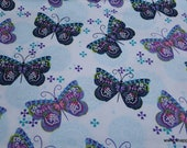 Flannel Fabric - Patterned Butterflies - By the Yard - 100% Cotton Flannel