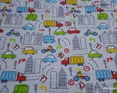 Flannel Fabric - City Traffic - By the Yard - 100% Cotton Flannel