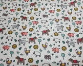 Flannel Fabric - Farm Animal Doodles - By the yard - 100% Cotton Flannel