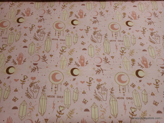 Flannel Fabric - Moon Child Main Pink - By the yard - 100% Cotton Flannel