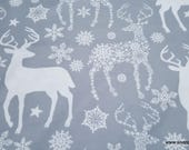 Christmas Flannel Fabric - Snowflake Deer Gray - By the yard - 100% Cotton Flannel