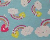 Flannel Fabric - Happy Rainbow - By the yard - 100% Cotton Flannel