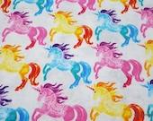 Flannel Fabric - Rainbow Unicorns - By the yard - 100% Cotton Flannel