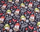 Christmas Premium Flannel Fabric - Snow Bird Snowmen and Words on Black Premium - By the yard - 100% Premium Cotton Flannel