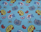 Flannel Fabric - Cat Faces and Butterflies Tossed - By the yard - 100% Cotton Flannel