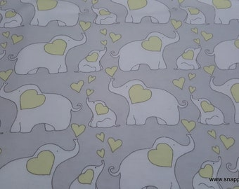 Flannel Fabric - Elephants Yellow - By the yard - 100% Cotton Flannel