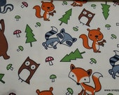 Flannel Fabric - Forest Animals Tossed - By the yard - 100% Cotton Flannel