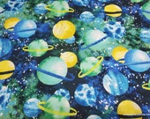 Flannel Fabric - Planets Green Blue Yellow - By the Yard - 100% Cotton Flannel