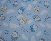 Flannel Fabric - Little Pigs - By the yard - 100% Cotton Flannel