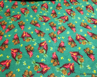 Christmas Flannel Fabric - Classic Christmas Cardinal - By the yard - 100% Cotton Flannel
