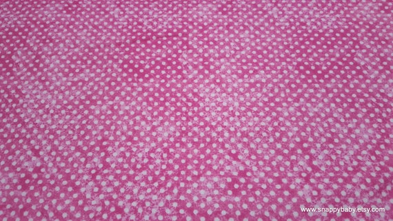 Quilters Flannel Fabric - Dots on Pink - By the yard - 100% Cotton Quilters Flannel
