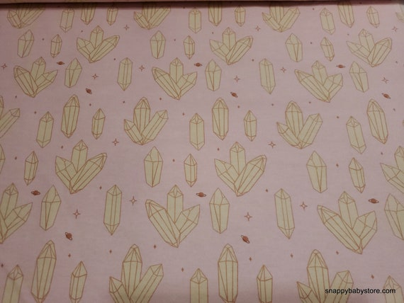 Flannel Fabric - Moon Child Crystal Pink - By the yard - 100% Cotton Flannel