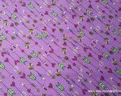 Flannel Fabric - Purple Arrows and Hearts - By the yard - 100% Cotton Flannel