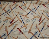Flannel Fabric - Baseball Bats and Balls Tossed - By the yard - 100% Cotton Flannel