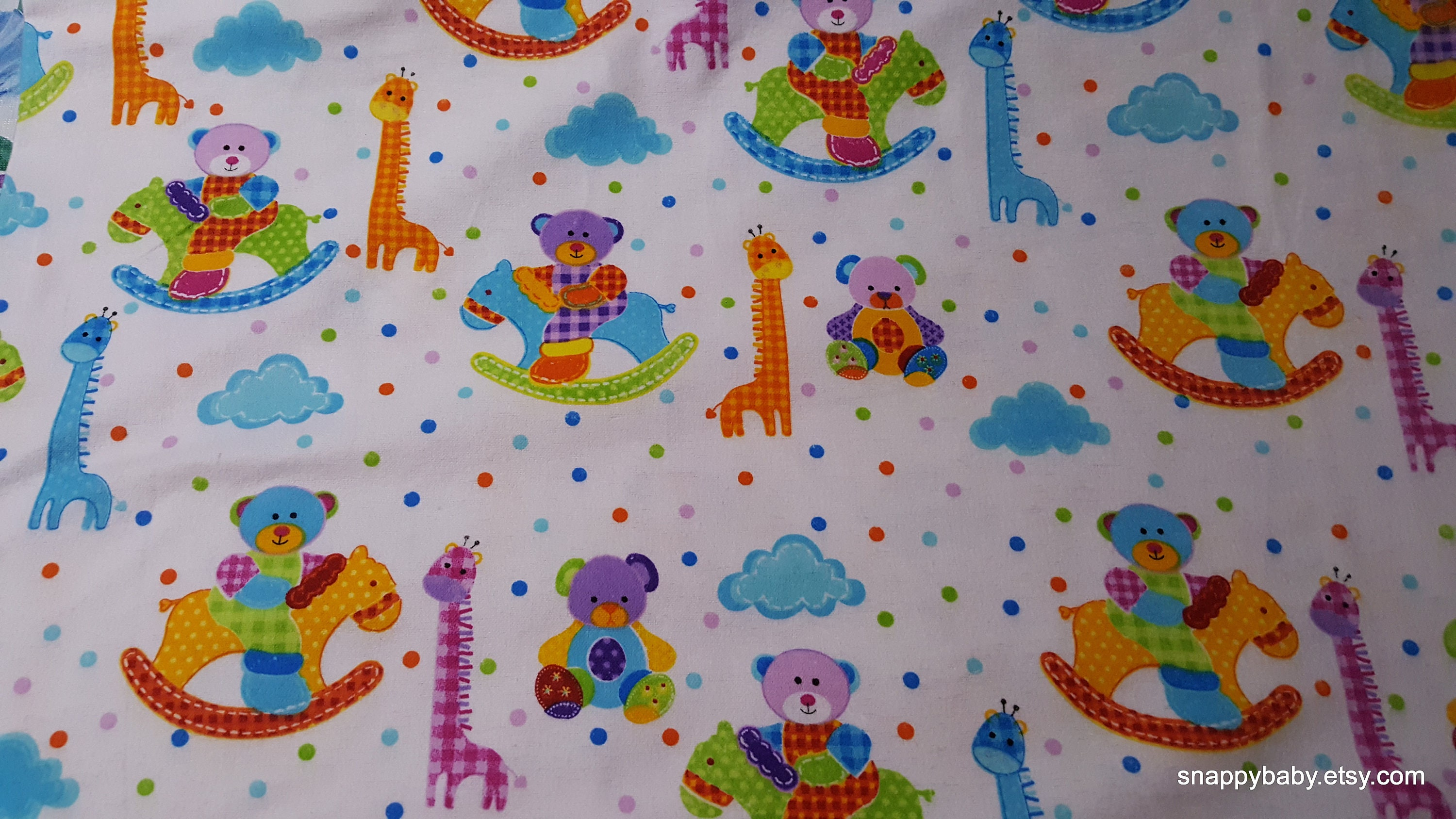 Flannel Fabric Rocking Bear By The Yard 100 Cotton Etsy