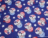 Flannel Fabric - USA Dogs - By the yard - 100% Cotton Flannel